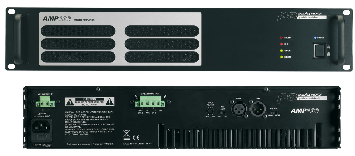 120W Professional amplifier for 100v installations