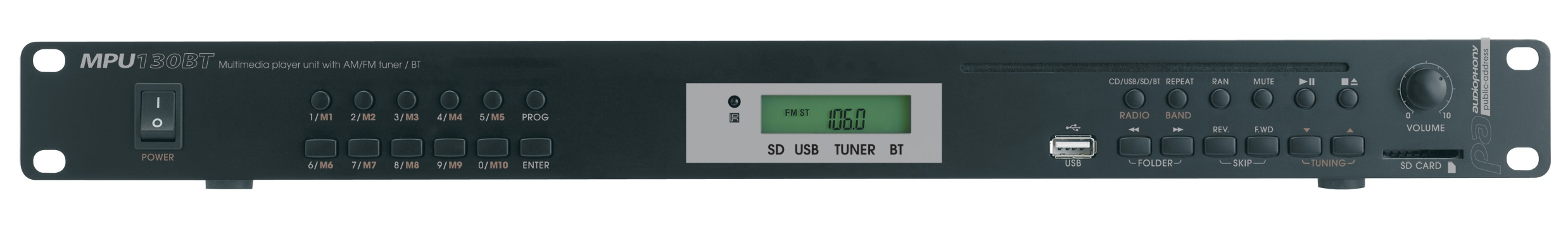 Multimedia and mp3 compatible Tuner / CD / USB / SD / Bluetooth player