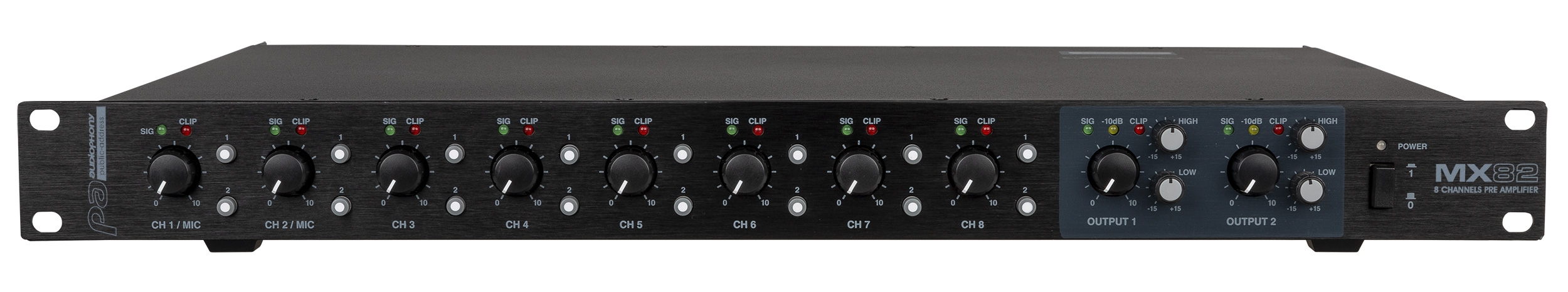 Mixer 1 unit 8 inputs / 2 stereo outputs with priority + Remote Mic
