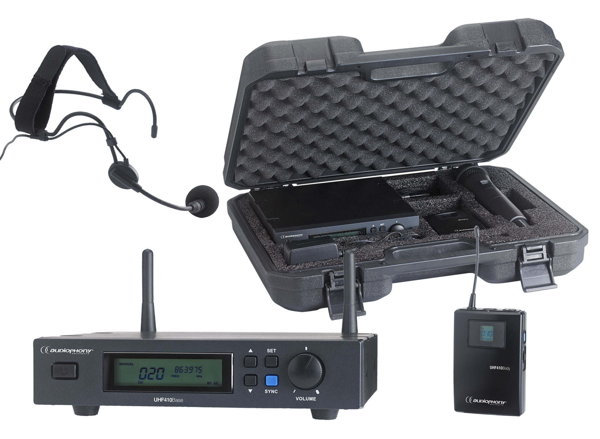 Set including a UHF True Diversity receiver + bodypack and a headband microphone in their transport case - 800MHz range