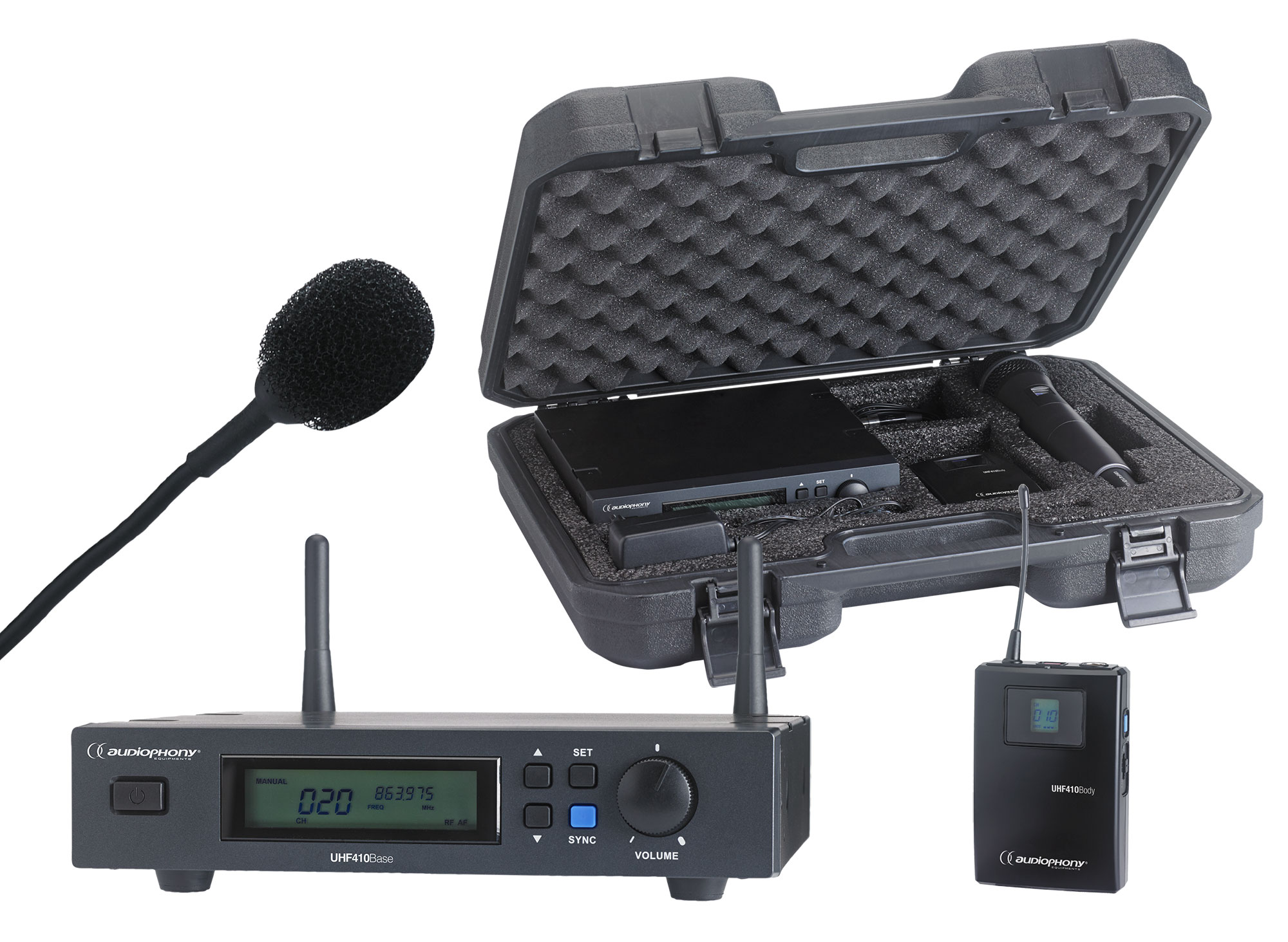 Set including a UHF True Diversity receiver + bodypack and a Lavalier microphone in their transport case - 800MHz range