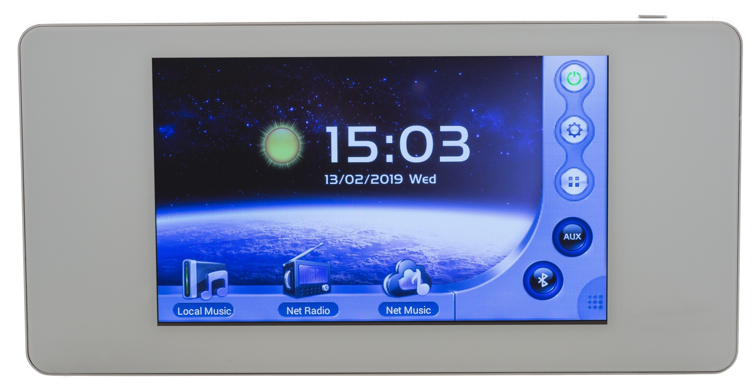 2x20W wall-mounted amplifier with SD, BLUETOOTH, AUX, DLNA, Airplay & App with touch screen