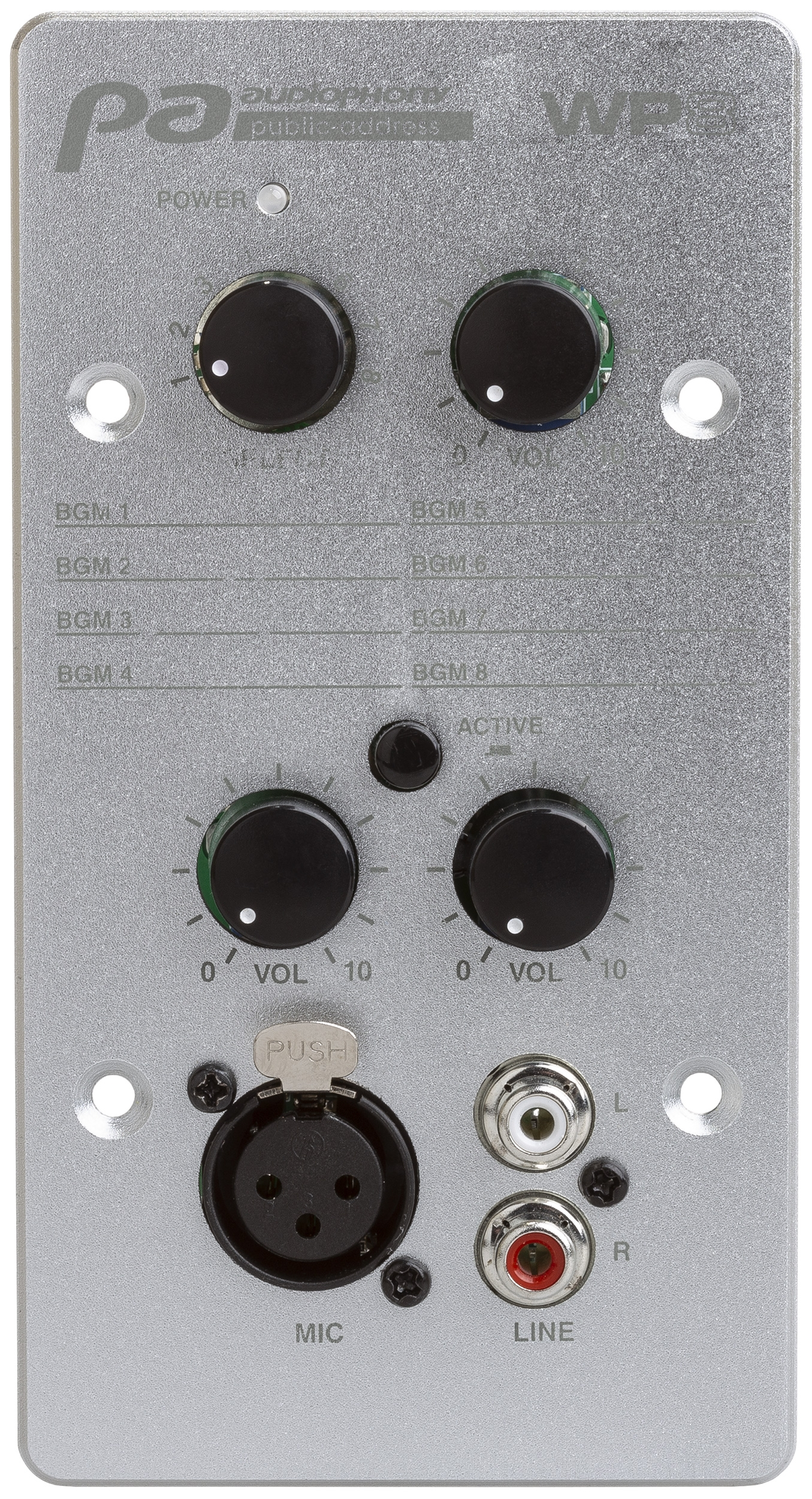 Wall controller with source selector and MIC/line input for matrix